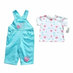 Baby Girl Overalls & T-Shirt Outfit 6-12 months